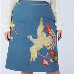Embroidered Bird A-Line Black Skirt XXL
